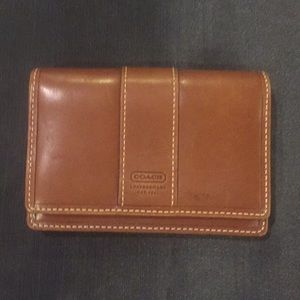 Coach Leather Brown Wallet Flap Key Coin Snap